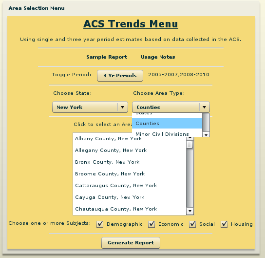ACS Trends Menu