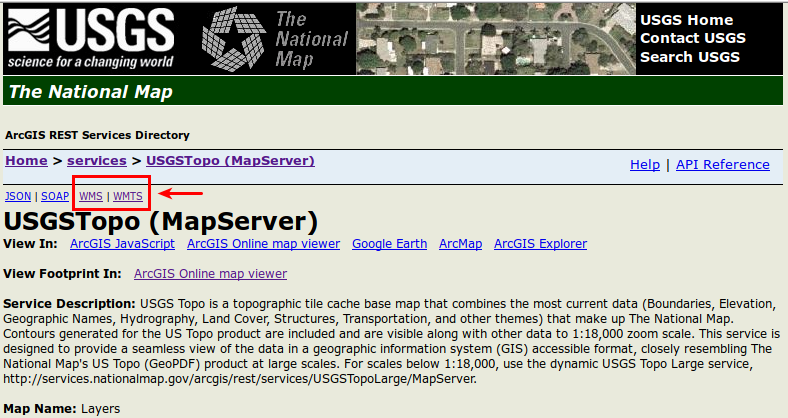 USGS Link for WMS Layer for Topographic Maps