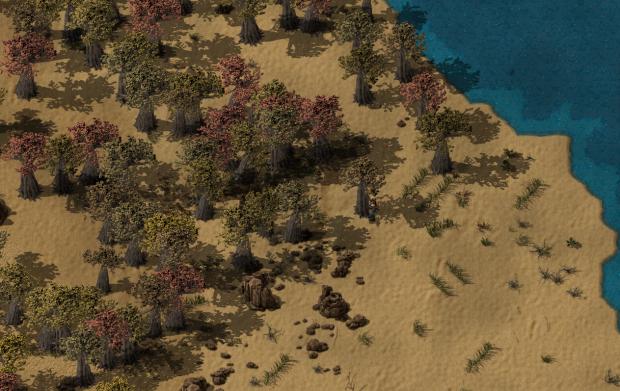 Factorio desert landscape