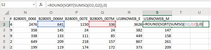 Excel Sum of Squares