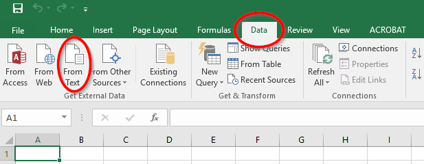 Importing text files in Excel
