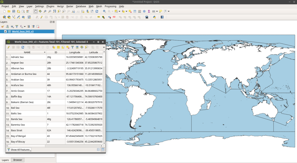 IHO Seas Layer in QGIS