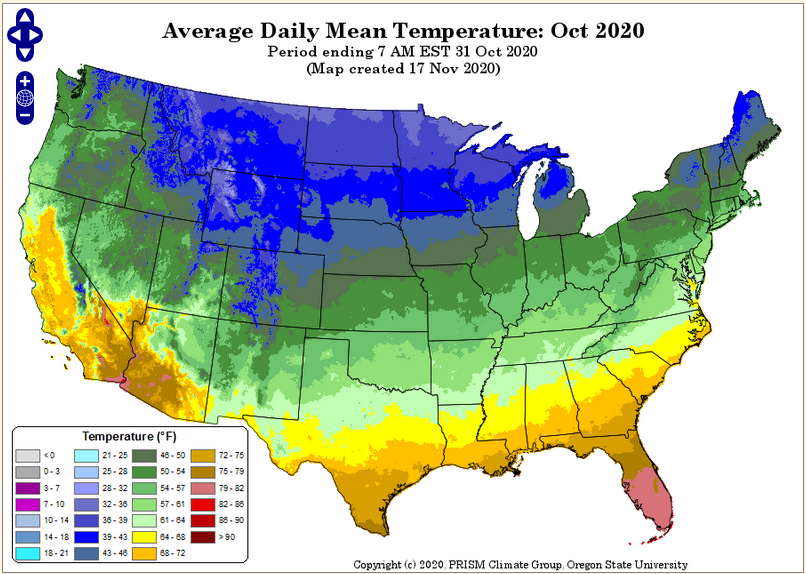 PRISM Mean Temp Map Oct 2020