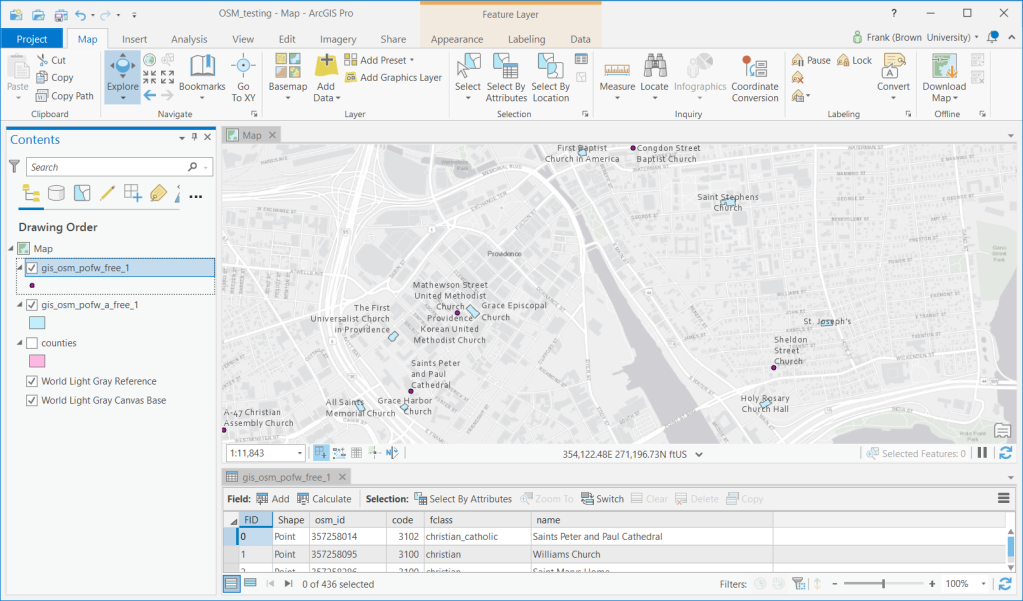 ArcGIS Pro with OSM Places of Worship from Geofabrik